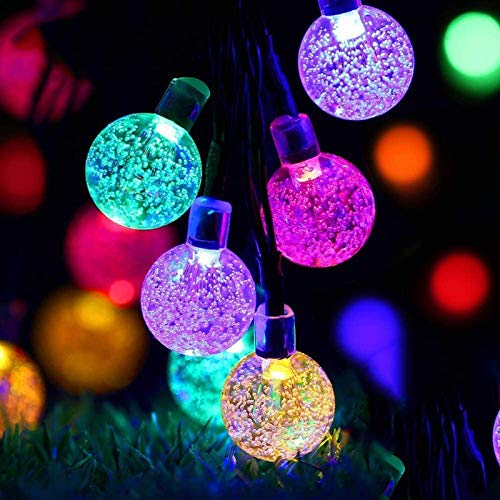 iihome 60 LED String 36ft Outdoor Waterproof Solar-Powered Crystal Ball Decorative Lights for Garden,Patio,Yard,Home,Chrismas Tree,Parties,Multi Colored, 36feet