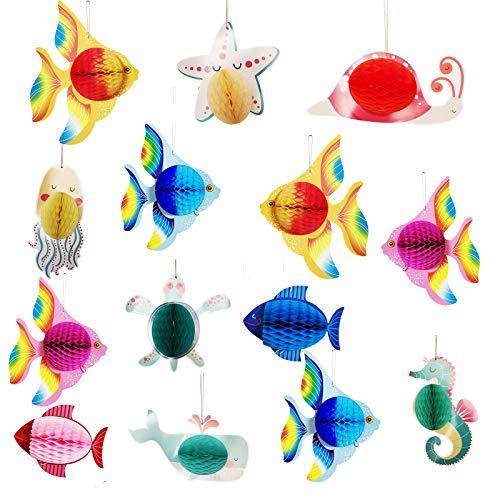 14 Stück Tropische Fische Deko Seidenpapier Wabenkugeln Thematische Meerjungfrau Luau Hawaiianische Hängende Dekorationen Zubehör für Kindergeburtstag Sommerpoolparty