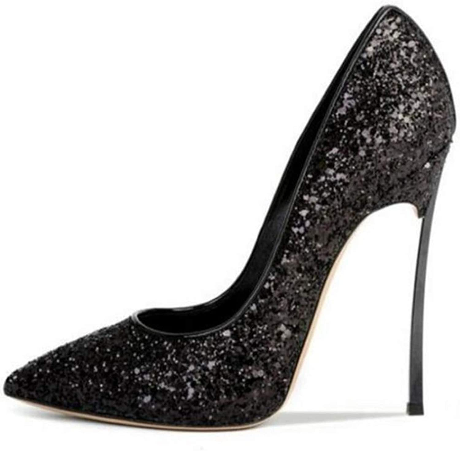 XDLEX Women's Sexy Glitter Sequins Pumps Stiletto Pointed Toe Slip on Bling Bridal shoes High Heel Low Cut Sparkly Party Dress D'Orsay Wedding Heeded shoes