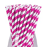 Paper Drinking Straws, 7.72 Inch Disposable Striped Straws, Natural Eco Friendly Biodegradable, Cute Cool Juices, Shakes, Cake Pops, Iced Coffee, Party Supplies And DIY Decorations - 25 PCS Rose&White
