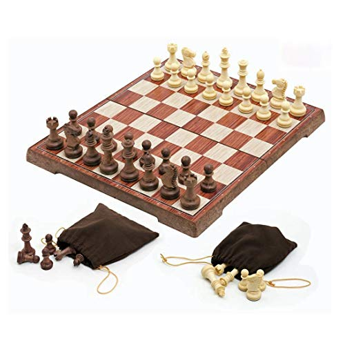 Folding Magnetic Travel Chess Set with 2 Portable Bags for Pieces Storage Lightweight for Easy Carrying 124 x 106 Inches Gift for Chess Lovers and Learners