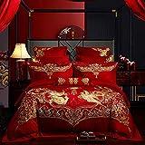 Homie Bettwäscheset aus ägyptischer Baumwolle, Rot, für Hochzeiten, Goldfarben, Phoenix, Loong Stickerei, Bettbezug, Bettlaken, Kissenbezüge, 1, Queen-Size-Größe 6-teilig