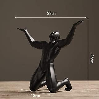 XDH-RTS Kneeling Muscular Male Nude Statues Bronze Human Body Sculptures Art Display Decor Geometric Modern Home Hotel Decor
