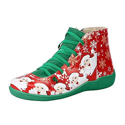 Winter Christmas Snowflake Print Shoes for Women Flat Side Zipper Up Boots Plus Size Lace-up Ankle Short Boots Green