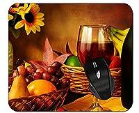 マウスパッドはヒマワリの果実秋のワインキャンドル静物マウスマットを残します