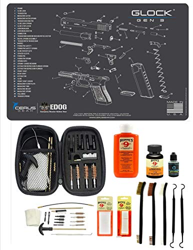 EDOG Gen 3 Gun Cleaning Kit & Accessories Compatible with Glock Gen 3 Pistol Schenatic Cleaning Mat for 22.38 9mm .45 Hoppes Gun Oil & Solvent Clenzoil CLP Cleaner Brush Picks & Patches