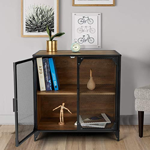YOLENY Industrial Storage Cabinet, Storage Sideboard with Metal Mesh Door,Buffet Entryway Cabinet for Home,Kitchen, Dining Room