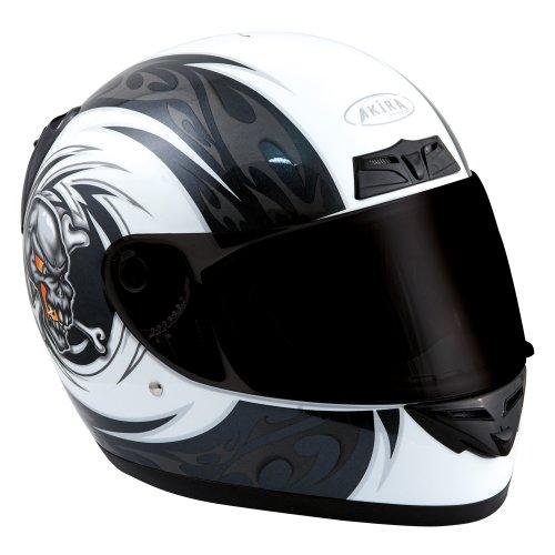 Akira Kitami Motorradhelm Integral, Weiß/Schwarz, Größe XXL