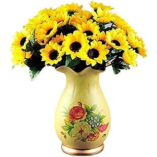 7thLake 14 Head Fake Sunflower Artificial Silk Flower Bouquet Home Wedding Table Decor