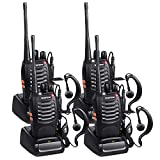 Baofeng Walkie Talkies Long Range FRS Two Way Radios with Earpiece 4 Pack UHF Handheld Reachargeble BF-888s Walkie Talkie for Survival Biking Hiking Li-ion Battery and Charger Included