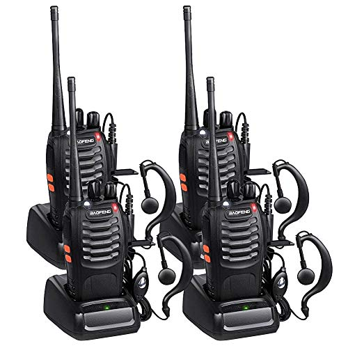 Baofeng Walkie Talkies Long Range FRS Two Way Radios with Earpiece 4 Pack UHF Handheld Rechargeable BF-888s Walkie Talkie for Survival Biking Hiking Li-ion Battery and Charger Included