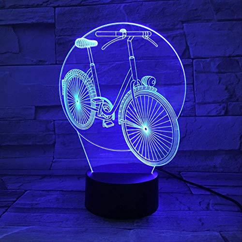 LWJZQT veilleuse 3d Vélo Vélo 3D Lampe Veilleuse Led Ampoule Multicolore Flash Fade Holiday Home Decor Design D'Intérieur Aa Batterie Tactile Base À Distance