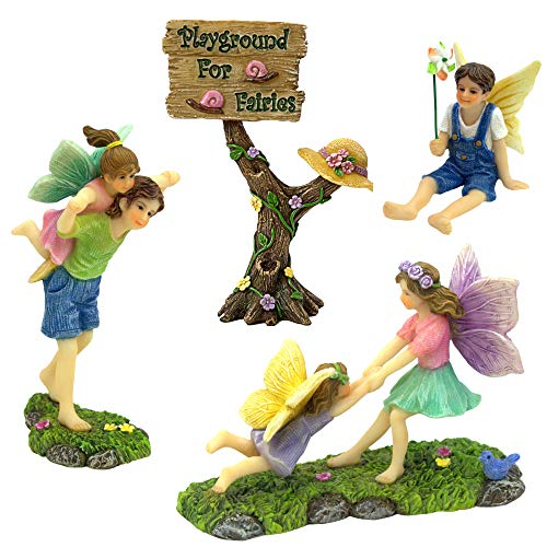 PRETMANNS Fairy Garden Accessories Kit – A Joyful Fairy Playground Set with Girl Fairies and Boy Fairies and a Cute Fairy Garden Sign – Fairy Garden Supplies 4 Pieces