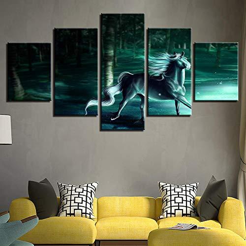 WYBFLF 5 lienzos decoración Cuadro sobre Lienzo Caballo fantasía fantasía Animales Bosque decoración de la para decoración del