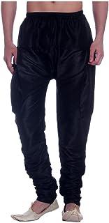Royal Kurta Men's Kora Silk Bottom Wear Harem (Black, Free Size)