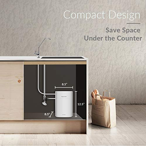 PureDrop CUW4 Aquacube Tankless Drinking Water Filter System Compact Ultra Filtration for Sink, RV, and More, White