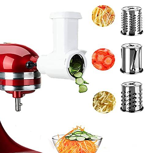 Slicer Shredder Attachment for Kitchenaid Stand Mixer, attachments for mixer, Food Slicer, Vegetable Slicer Attachment Accessories for KitchenAid with 3 Blades