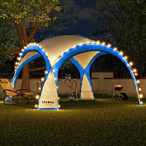 Swing & Harmonie LED Event Pavillon 3,6 x 3,6m DomeShelter Garten Pavillion inkl. Solarmodul Pavilion Designer Gartenzelt Camping Pavilon Partyzelt mit Beleuchtung (Blau)