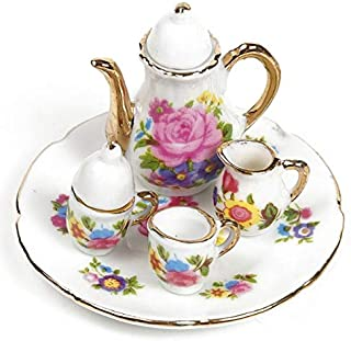 EatingBiting(R) Collection Level 1:6 Elegant Flora Miniature Dollhouse Porcelain Tea Dish, Teapot, Cup, Plate Craft Set , DIY Scene Doll Home Furniture Accessories , Kid Children