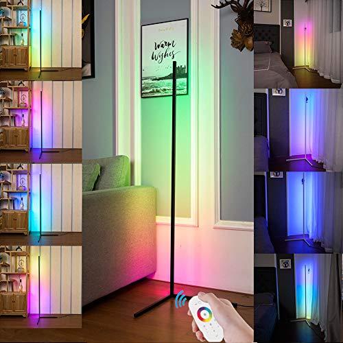 Intelligente RGB-Stehlampe, weiße moderne LED-Stehlampe Hintergrundbeleuchtung, Minimalismus Farbwechsel LED Dimmbare Taschenlampe, Schwarz, 20 W Cool für Wohnzimmer(Atmosphärenlicht)