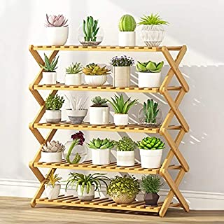New Gardening Tools 5-Layer Balcony Living Room Collapsible Solid Wood Flower Stand Potted Planting Shelves, Length: 80cm