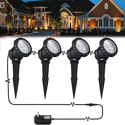 12W LED landscape light Outdoor Landscape Spotlights with Spike Stand 12V Low Voltage landscape lighting, IP66 Waterproof Garden Yard Trees Flags Pathway Lights Warm White(800LM, 3000K), 4pack,UL Plug