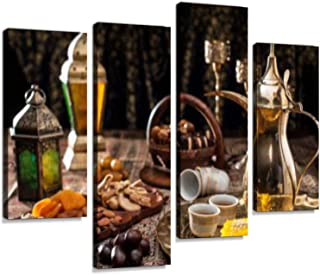 Traditional Arabian Coffee, Nuts and Sweets Canvas Wall Art Hanging Paintings Modern Artwork Abstract Picture Prints Home Decoration Gift Unique Designed Framed 4 Panel