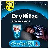 Huggies DryNites hochabsorbierende Pyjama-/ Unterhosen, Bettnässen Jungen Jumbo Monatspackung, 4-7 Jahre (64 Stück)