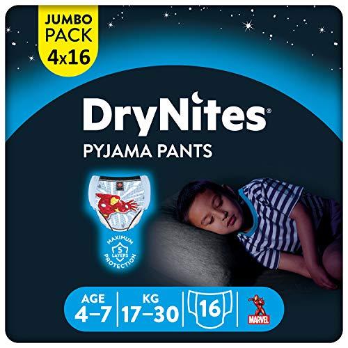 Huggies DryNites hochabsorbierende Nachtwindeln bei Bettnässen, für Jungen 4-7 Jahre, 64 Stück