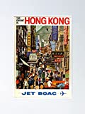 AZSTEEL Vintage Hong Kong Poster - Jet Boac Poster 11.7 *