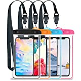 GLOUE Waterproof Case Universal Waterproof Phone Bag Pouch Drg Bag for iPhone Xs Max Xs Xr X 8, Galaxy S9 S9P S8 Note 9 8, Google & HTC up to 6.5 inches -4 Pack-Pink,Blue,Orange,Black