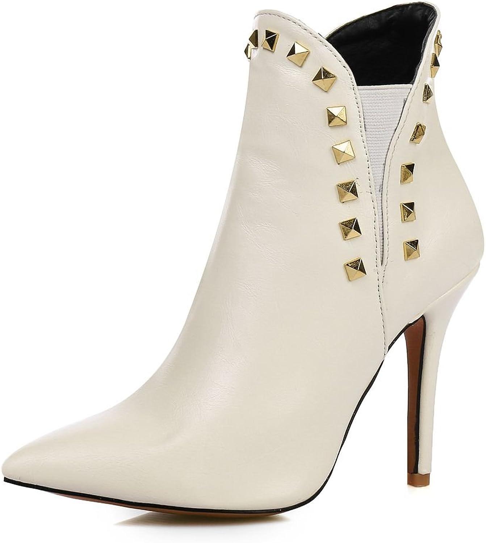 SaraIris Rivet Pointed Toe Hight Heels Solid Elegant Ankle Boots Women