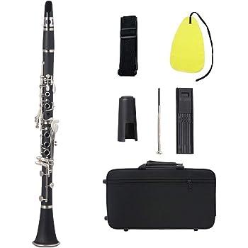 Muslady Clarinete bb Baquelita Negra Llaves de Plata Instrumento de Viento de Madera con Estuche Caña Paño de Limpieza Destornillador Mini: Amazon.es: Instrumentos musicales