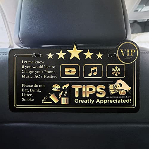 Rideshare Tips & Five Stars Rating Sign Reminder Luxury Style Design - Uber Lyft Taxi Tips Appreciated Sign Plastic Both Sides Printed