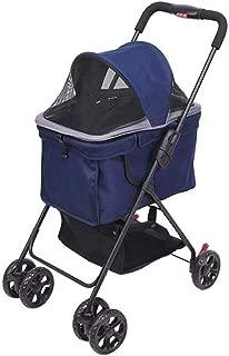 Pet stroller Pet Stroller, Medium Pet Stroller,Pet Stroller, Collapsible Pet Stroller,Foldable 4-Wheel Pet Stroller. Pet Supplies (Color : Blue)
