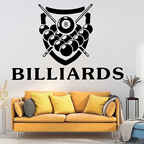 Billar Snooker Ocio Deporte Logo Signo Sala de billar Bola de señal Vinilo Etiqueta de la pared Calcomanía Ventiladores para niños Dormitorio Sala de estar Studio Club Decoración para el hogar Mu