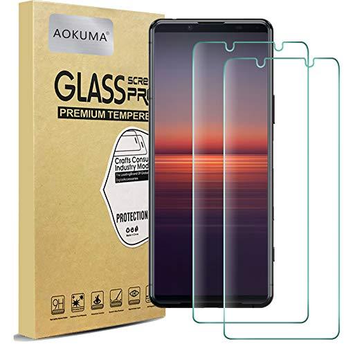 AOKUMA für Sony Xperia 5 II Panzerglas, 【2 Stücke】Glas kompatibel mit Sony Xperia 5 II Schutzfolie, Premium Glasfolie mit 9H Festigkeit, Anti Kratzer, Splitterfest,Anti-Öl,Anti-Bläschen