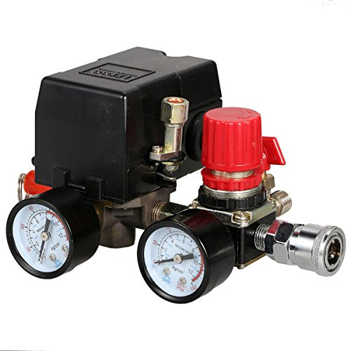 Secbolt Pressure Switch Manifold Regulator Gauges Air Compressor Pressure Switch Control Valve 90-120PSI (American Pattern)