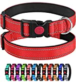 Joytale Reflective Dog Collar with Safety Buckle, Soft Neoprene Padded Nylon Pet Collar Adjustable for for Puppy and Small Dogs,Red,XS