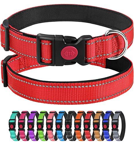 Joytale Collar Perro Reflectante,Nylon Collar Acolchado con Neopreno,para Caminar Correr Entrenamiento,Ajustable para Perros Pequeño,25-40cm,Rojo