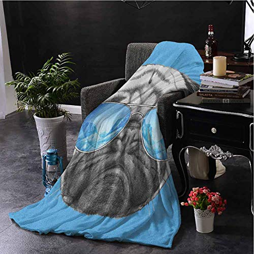 SSKJTC Grey Blanket Pug Pug Portrait with Mirror Sunglasses Hand Drawn Illustration of Pet Animal Funny Pearl Blue Black Couch Bed Napping Reading Recliner W60 xL50