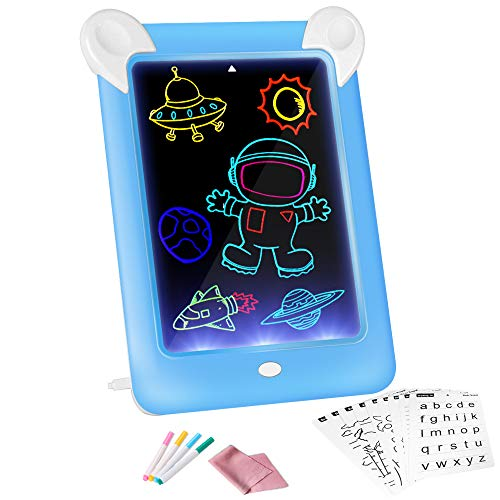 3D Glow Pads for Kids, Magic Drawing Board 19 Stencils, Portable Glow Board Pad 4 Drawing Pens, Magic Drawing pad Erasable Graffiti Drawing Colorful Luminous Paperless & Photo Frame Gifts for Kids