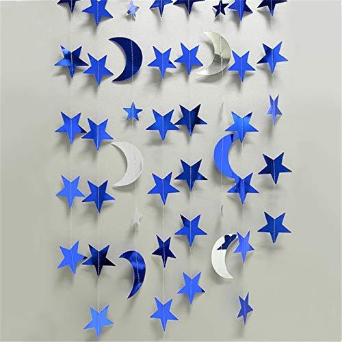 SONGHJ 4M Espejo Papel Estrellas Luna Corona Brillo Banner Fiesta De Cumpleaños Decoración Adultos Niños Niñas Bebé Cortina Decoración Boda