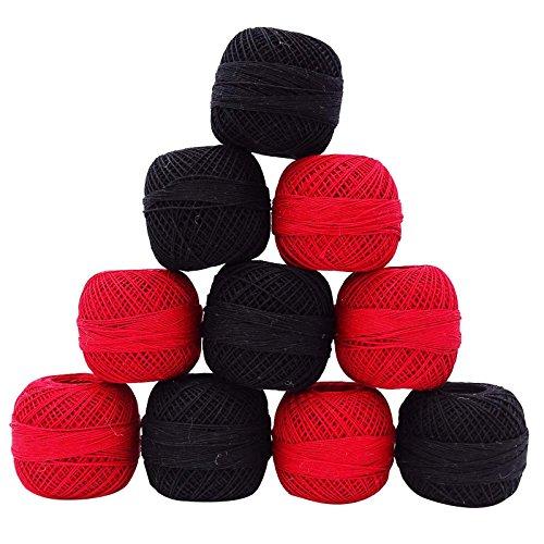 IBA Indianbeautifulart Ensemble de 10 Pcs Rouge Noir Crochet Fil de Coton Broderie de Fil à Tricoter écheveau