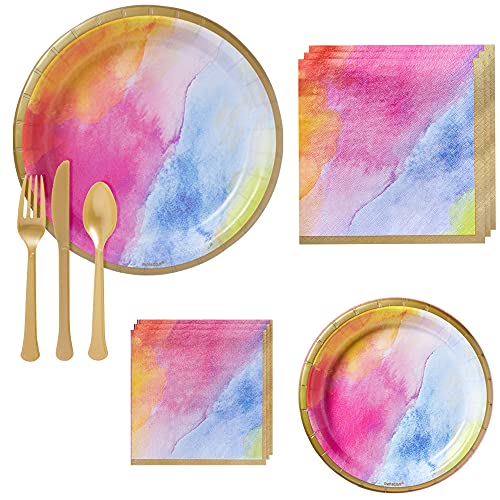 Party City Watercolor Rainbow Tableware Party Supplies for 16 Guests, Include Pastel Plates and Napkins, Plus Gold Utensils