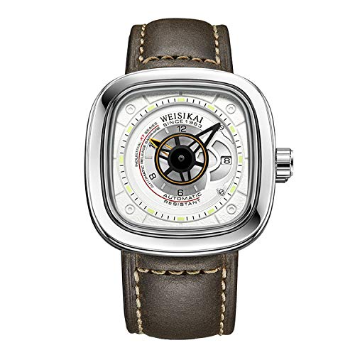 RORIOS Herren Sport Uhren Automatische Mechanische Uhr Leuchtend Zifferblatt mit Datum Kalender Leder Armband Mode Männer Armbanduhren