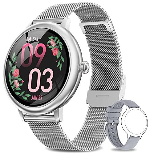 AIMIUVEI Smartwatch Damen,Fitness Tracker IP67 Wasserdicht Smart Watch mit Aktivitätstracker Schlafmonitor,Sportuhr Fitnessuhr Pulsuhren Schrittzähler Uhr für iOS Android Handy Silber