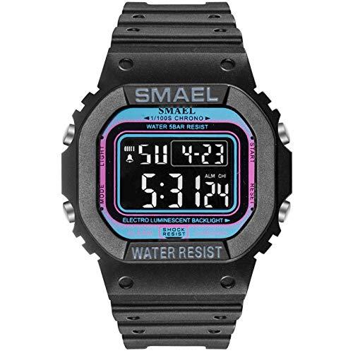 Reloj adolescente Reloj de manera digital Hombres Deportes Relojes LED reloj de pulsera for niño impermeable marca de fábrica superior del cronómetro Estudiante para niños ( Color : Black Light blue )
