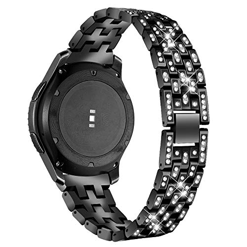 Uhrenarmbänder Für Galaxy Watch 46mm, Miya Edelstahl-Metallrhinestone-Korn Ersatz-Armband Armband-Bügel mit Magnet-Verschluss für Galaxy S3 Uhr 46mm Classic/Frontier - Schwarz