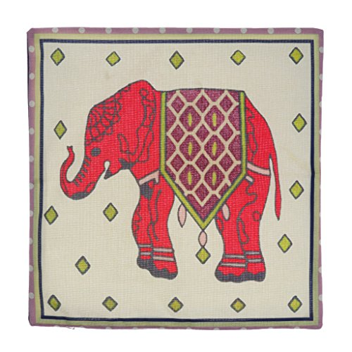 LOVIVER Bordado Elefante Rojo Algodón Throw Pillow Case Funda de Cojín Sofá Casero